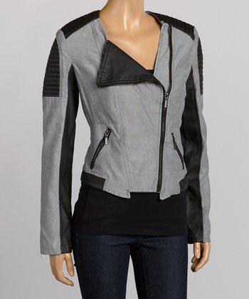 Black & Gray Moto Jacket - Women