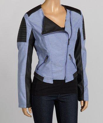 Blue & Black Moto Jacket - Women