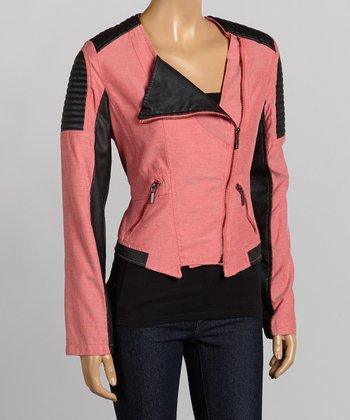 Fuchsia & Black Moto Jacket - Women