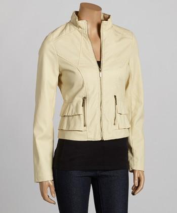 Stone Faux Leather Jacket - Women
