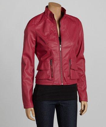Fuchsia Faux Leather Jacket - Women