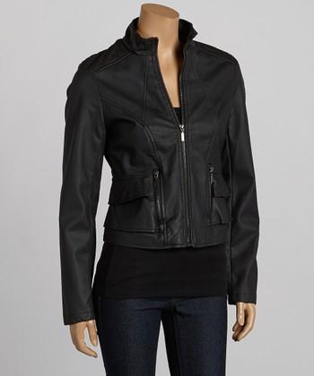 Black Faux Leather Jacket - Women