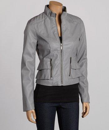 Gray Faux Leather Jacket - Women