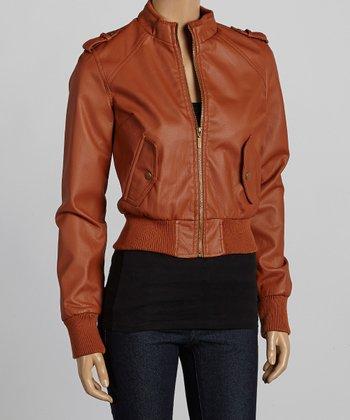 Cognac Bomber Jacket - Women