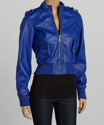 Royal Blue Bomber Jacket - Women