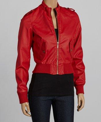 Red Bomber Jacket - Women