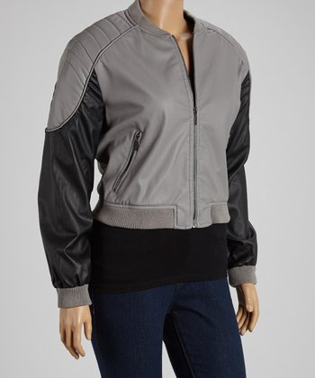 Gray & Black Bomber Jacket - Plus