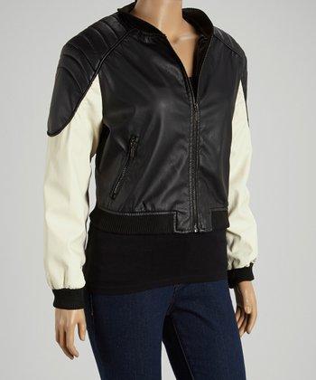 Black & Ivory Bomber Jacket - Plus