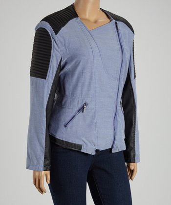 Blue Chambray Quilted Jacket - Plus