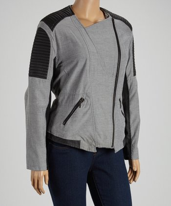 Black Chambray Quilted Jacket - Plus