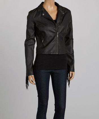 Black Fringe-Trim Jacket - Women