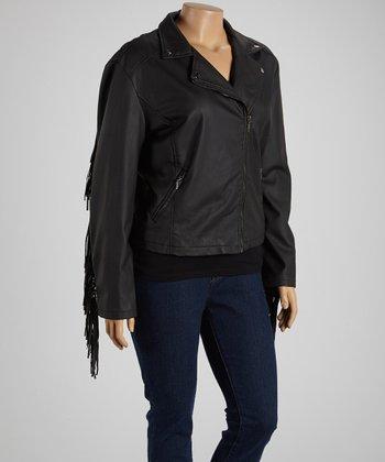 Black Fringe-Trim Jacket - Plus