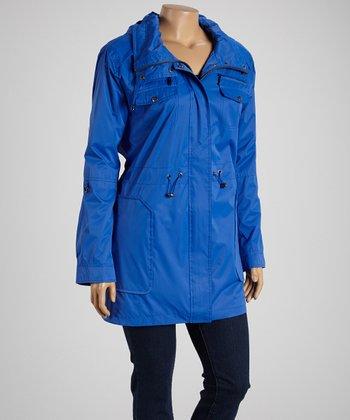 Dazzling Blue Hooded Anorak Rain Coat - Plus