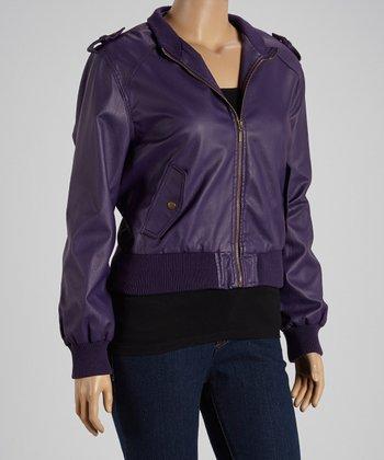Purple Bomber Jacket - Plus