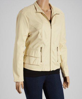 Stone Ruffle Faux Leather Jacket - Plus