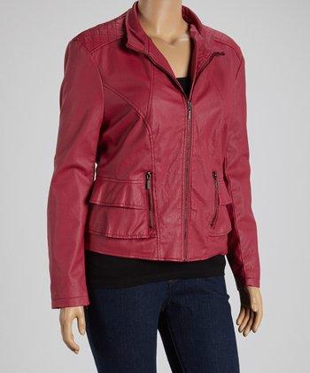 Fuchsia Ruffle Faux Leather Jacket - Plus