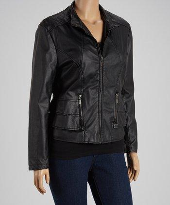 Black Ruffle Faux Leather Jacket - Plus