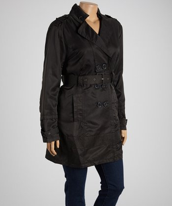 Black Belted Trench Coat - Plus