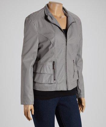 Gray Ruffle Faux Leather Jacket - Plus