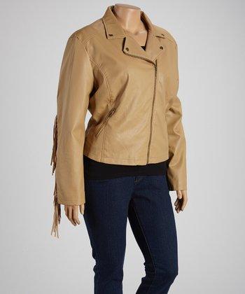 Camel Fringe-Trim Jacket - Plus