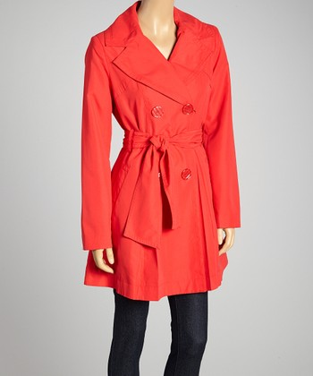 Red Double-Breasted Belted Trench Coat - Women