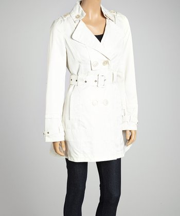 Ivory Double-Breasted Belted Trench Coat - Women