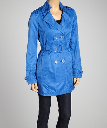 Dazzling Blue Double-Breasted Belted Trench Coat - Women