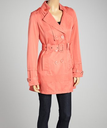 Coral Double-Breasted Belted Trench Coat - Women