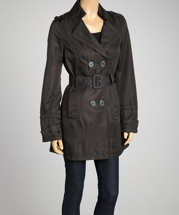 Black Double-Breasted Belted Trench Coat - Women