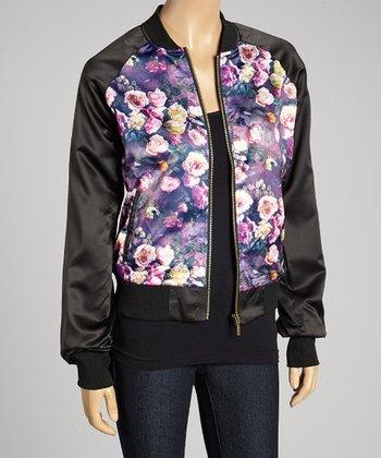 Purple Floral Jacket - Women