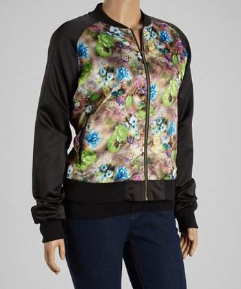 Blue Floral Jacket - Plus