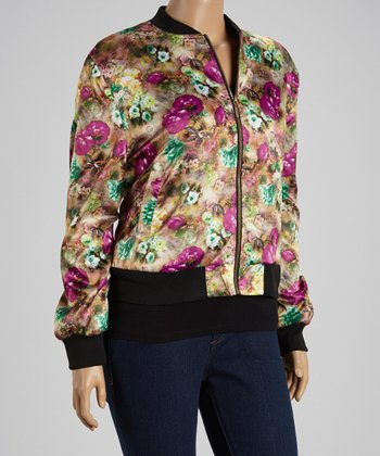 Magenta Floral Jacket - Plus