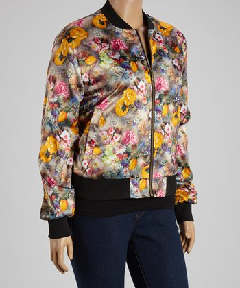 Yellow Floral Jacket - Plus