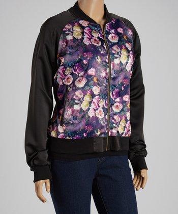 Purple Floral Jacket - Plus