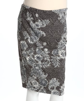 Black & Cream Floral Mid-Belly Maternity Pencil Skirt