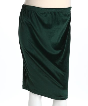 Green Velvet Maternity Skirt