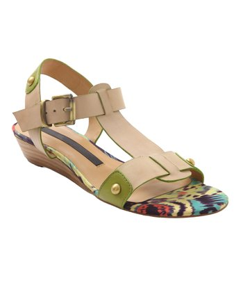 Kensie Cream Leather Zappa T-Strap Sandal