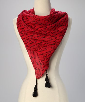 Apple Red Signature Script Scarf