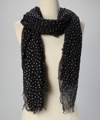 Black Leaf Sheer Scarf