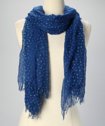 Cobalt Leaf Sheer Scarf
