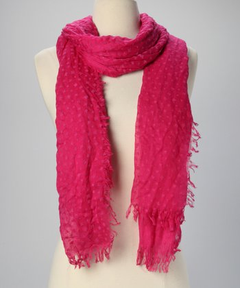 Magenta Leaf Sheer Scarf
