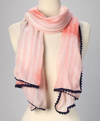 Bright Peach & Deep Ocean Brushstroke Scarf