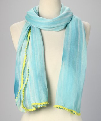 Seafoam & Highlighter Yellow Brushstroke Scarf