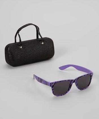 Accessories 22 Purple Zebra Stripe Sunglasses & Case