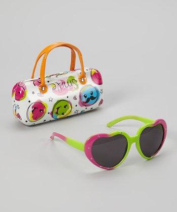 Accessories 22 Pink & Green Rhinestone Heart Sunglasses & Case