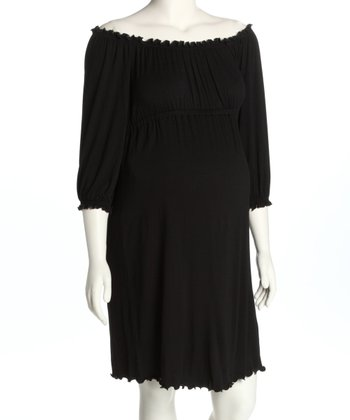 Black Ruched Maternity Dress