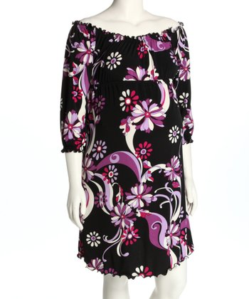 Black Floral Ruched Maternity Dress