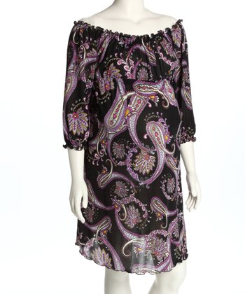 Black Paisley Ruched Maternity Dress