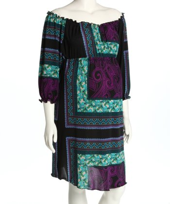 Purple Square Ruched Maternity Dress