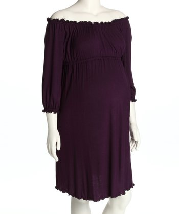 Purple Ruched Maternity Dress